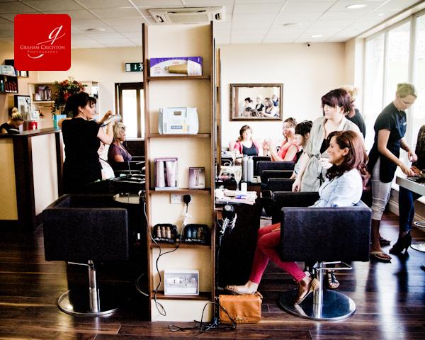 wedding prep photographs in a salon