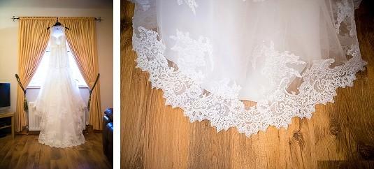 Wedding Day Detail shots at Wedding Dress at Brides House