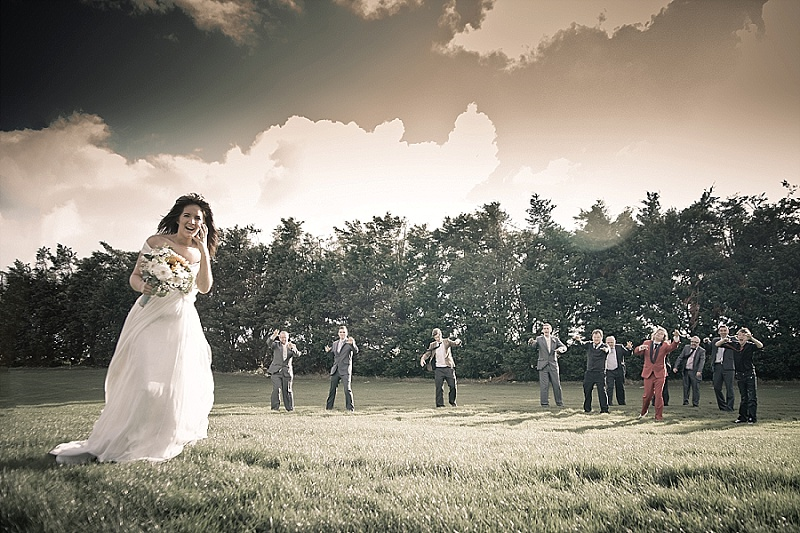 Bride runs away from zombies
