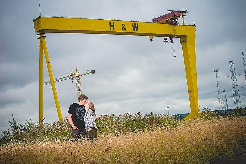 Belfast engagement session at shipyard