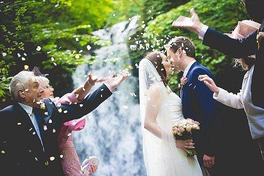 Small Outdoor Glenoe Waterfall Wedding