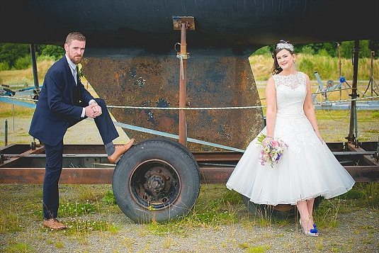 Bride and Groom on Boat wheel arch