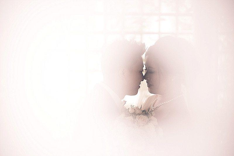 Bride and Groom in mist hidden image