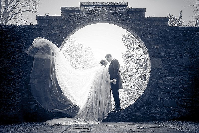 Couple with Sweeping Veil at Drenagh Moon Garden