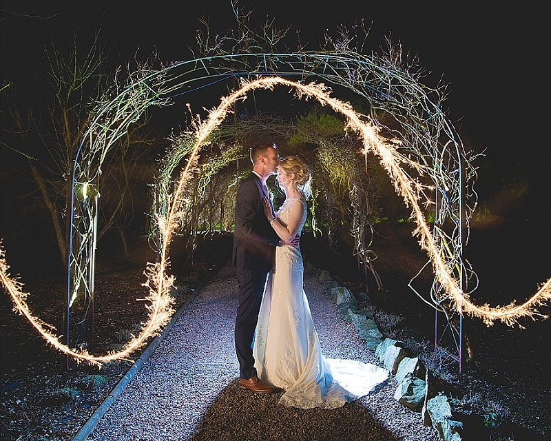 Bride and Groom in Sparkler arch