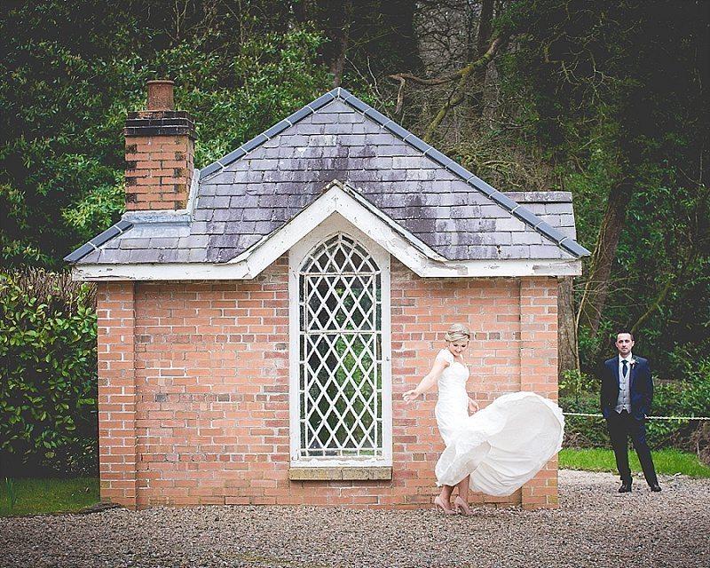 Bride spinning in her wedding dress