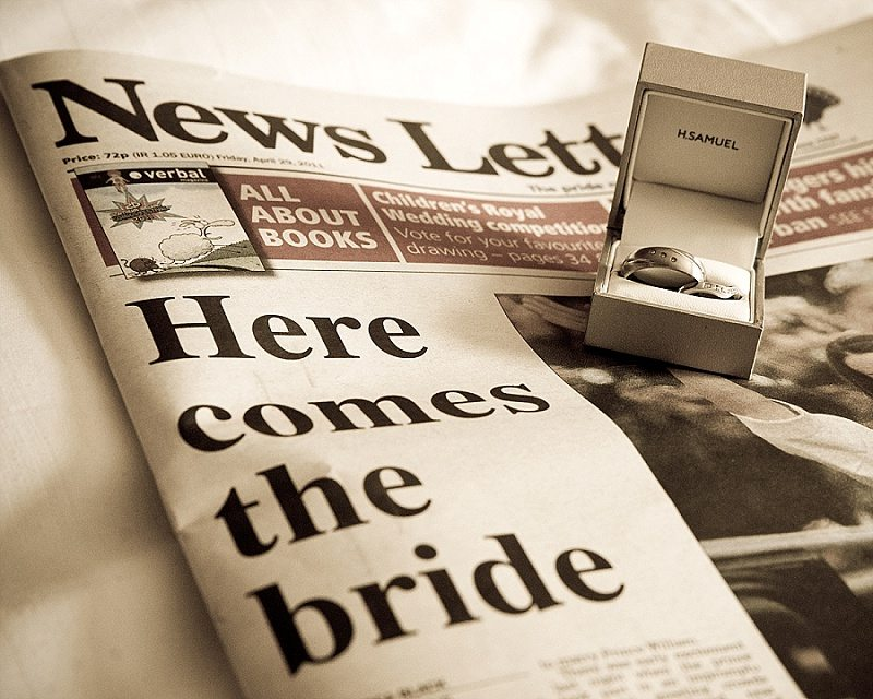 Wedding Rings on Hear comes the bride newspaper headlines