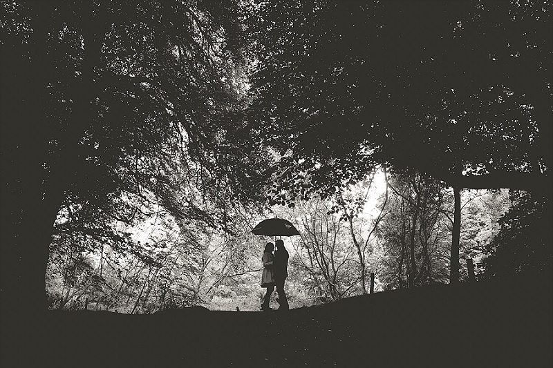 Silhouette of couple sheltering under Umbrella in woodland Clearing
