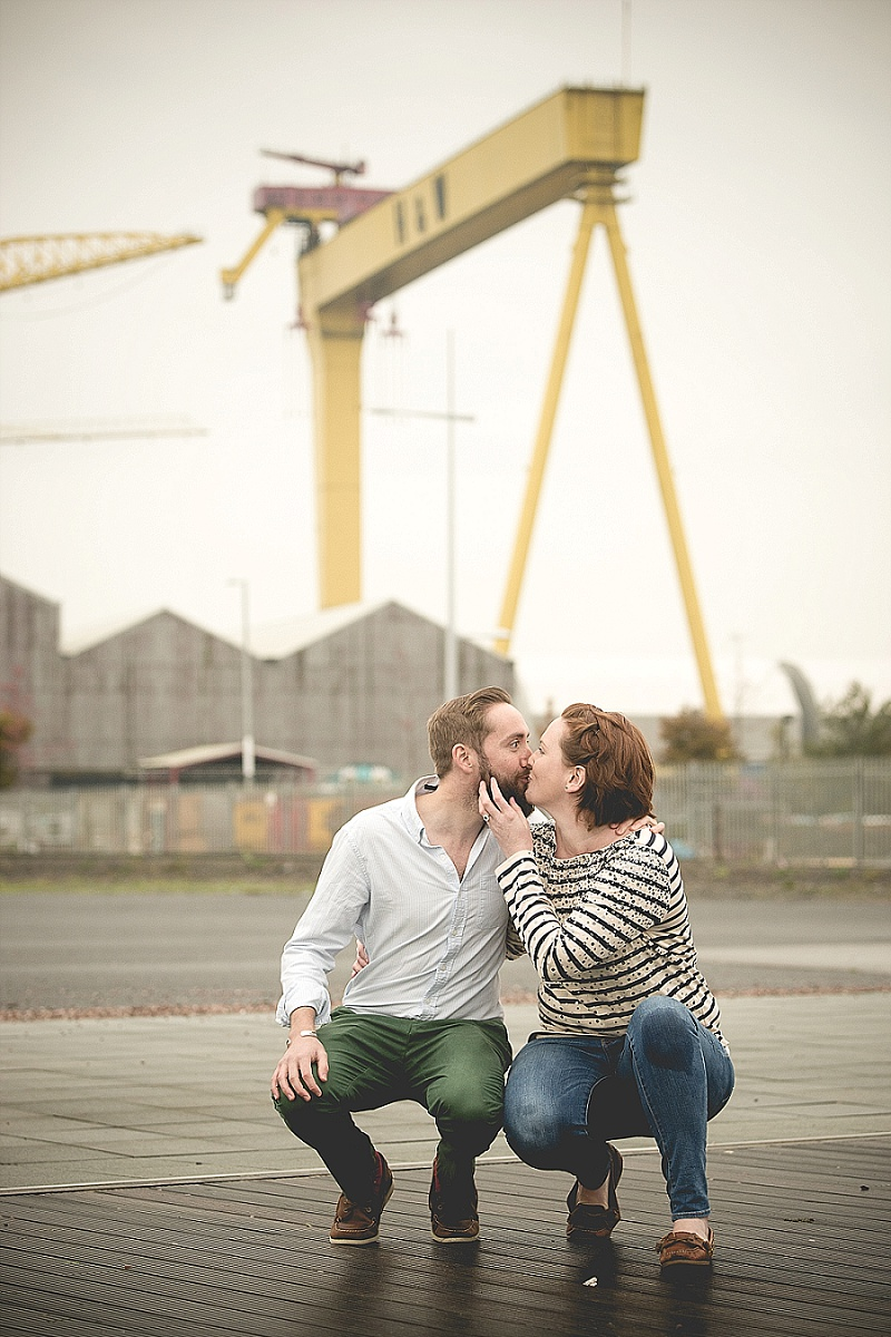 Couple infront of Harland and Wolf Cranes