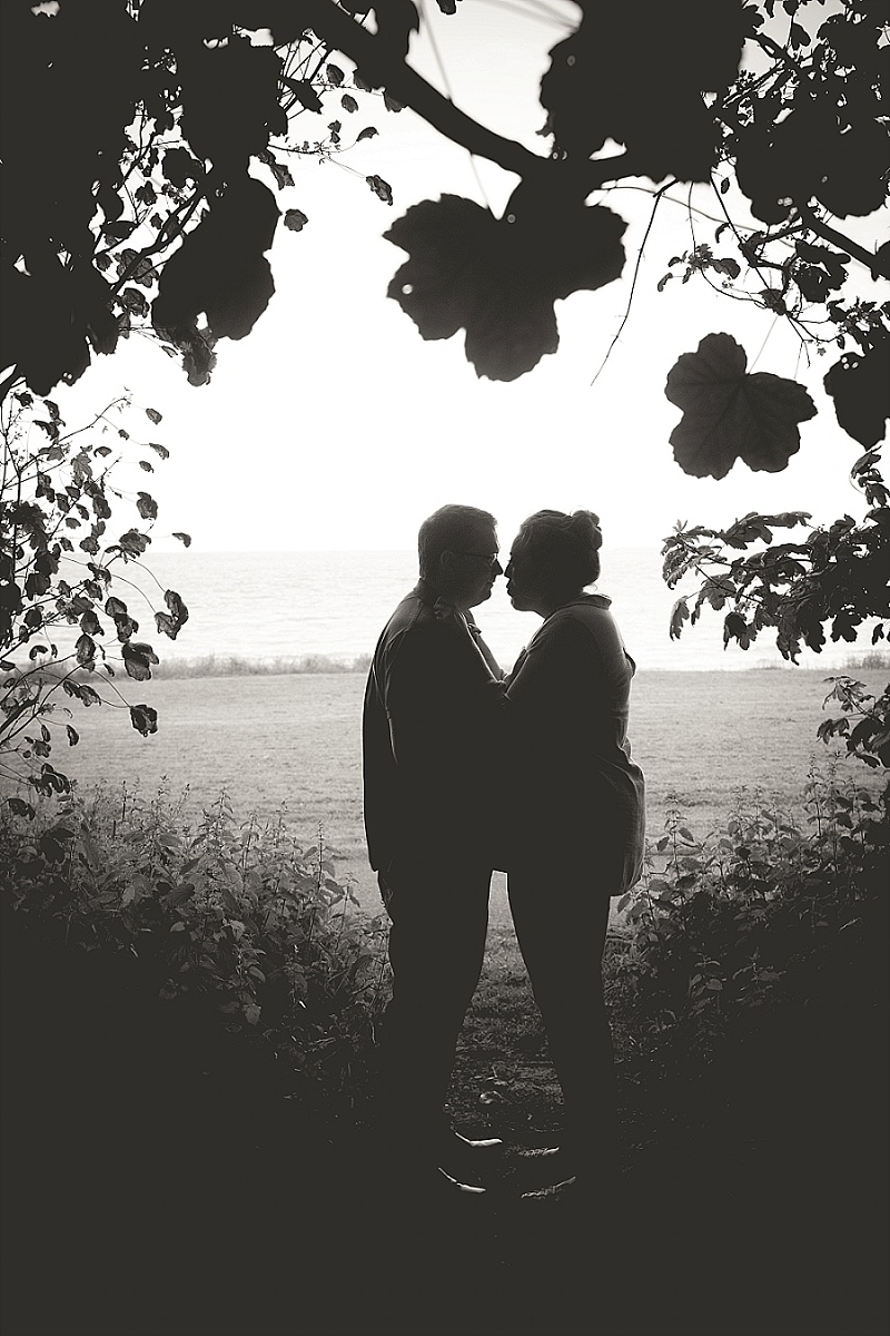 Silhouette of Couple Overlooking the Sea