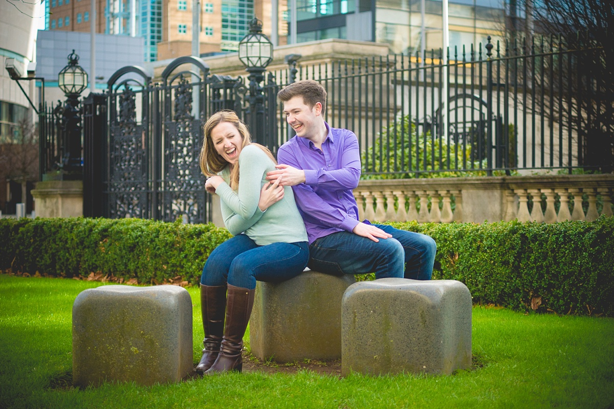 Engagement session in a city centre
