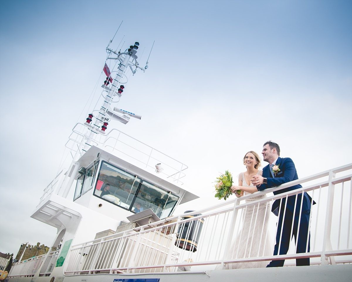 Newly married couple on a ferry in Strangford