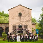 Mary and Sue with a brass band at their wedding in Italy