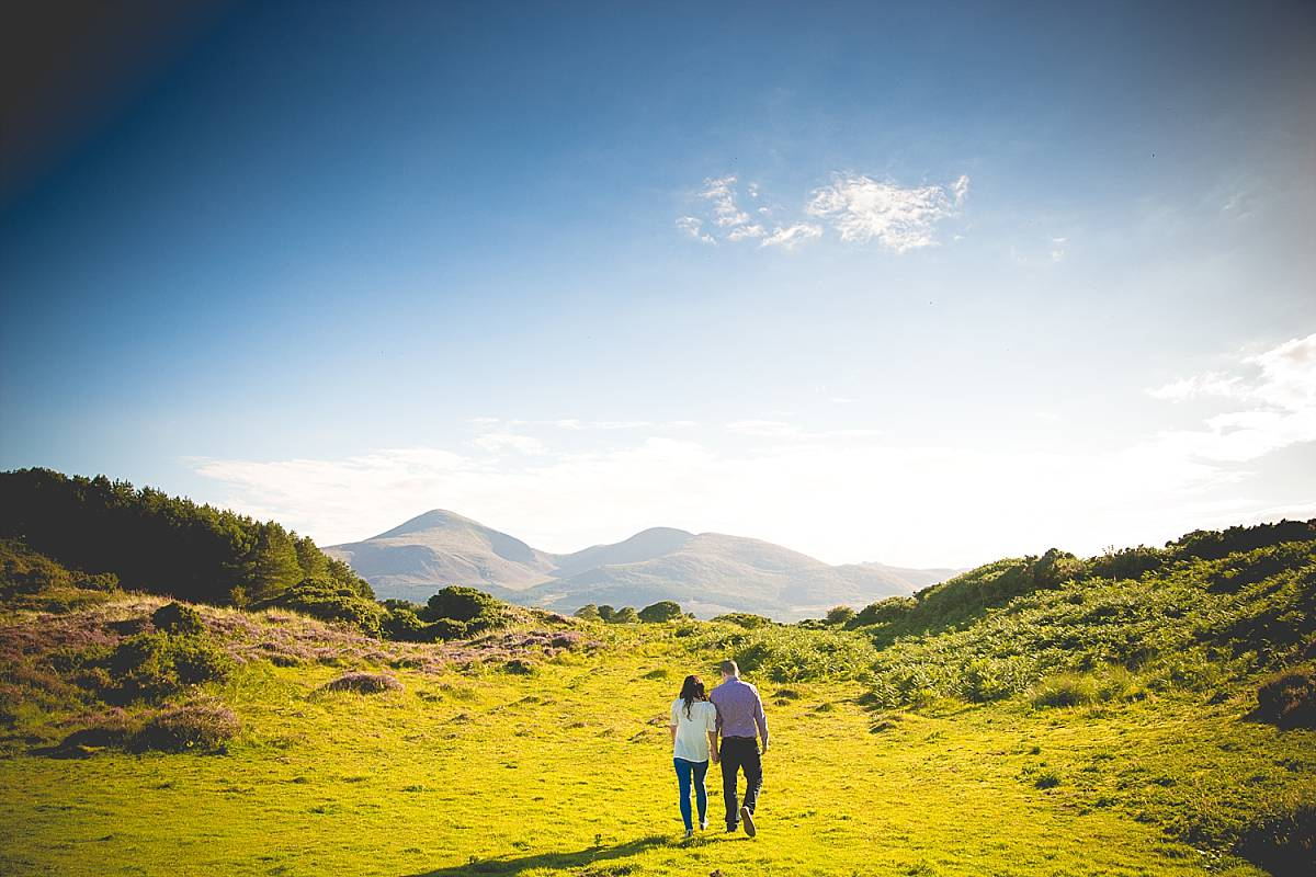 Couple walking in the sand dunes