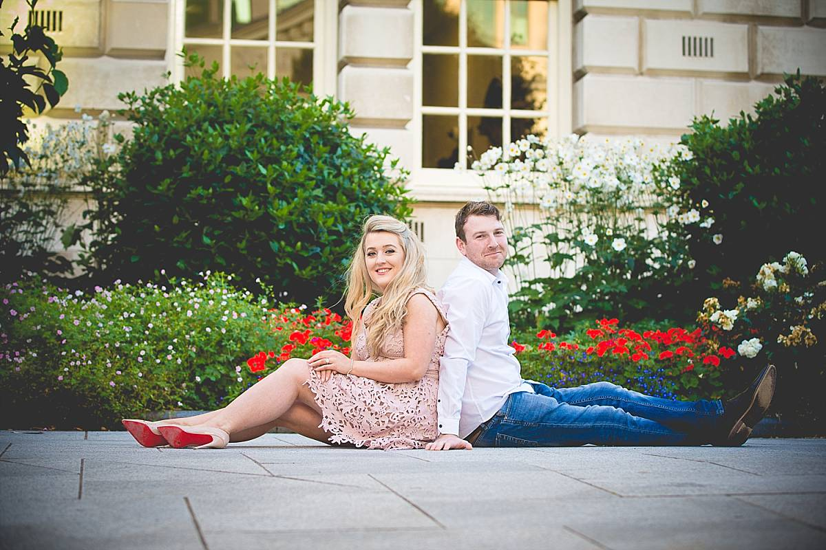 couple sat outside Belfast city hall