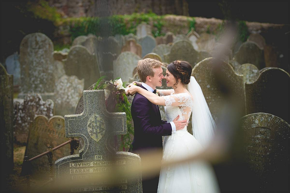 Bride & Groom in graveyard