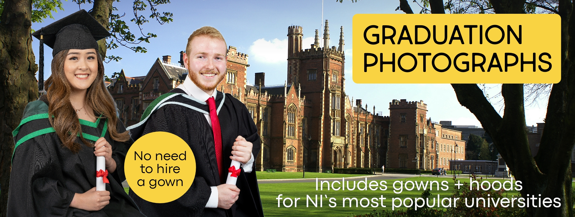 Graduation Photography Belfast Northern Ireland - Official Gowns for Queen's University, Unversity of Ulster and Open University